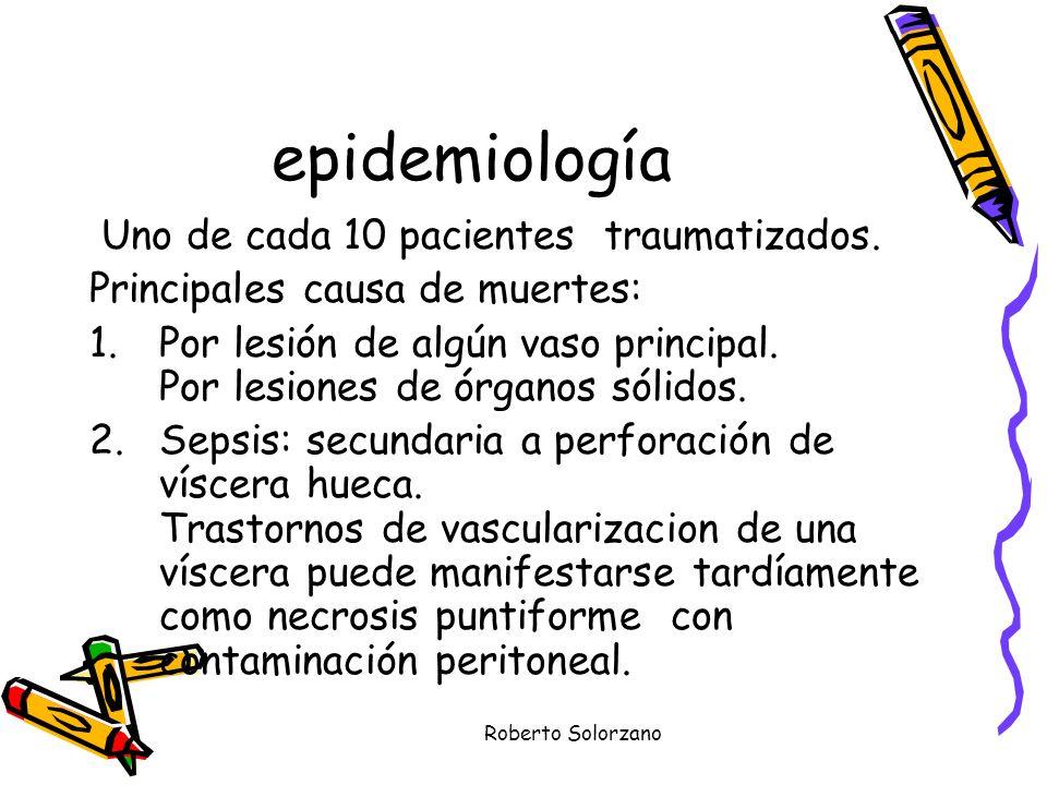 epidemiología Uno de cada 10 pacientes traumatizados.
