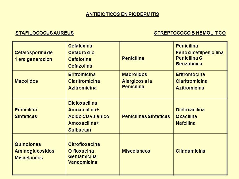 ANTIBIOTICOS EN PIODERMITIS STAFILOCOCUS AUREUS