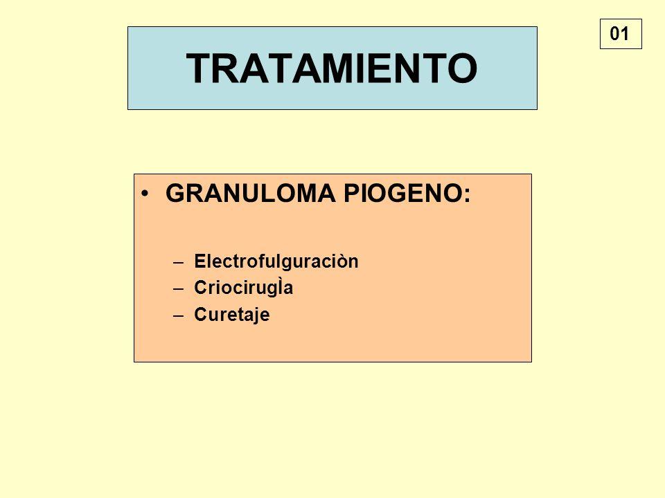 TRATAMIENTO GRANULOMA PIOGENO: 01 Electrofulguraciòn CriocirugÌa