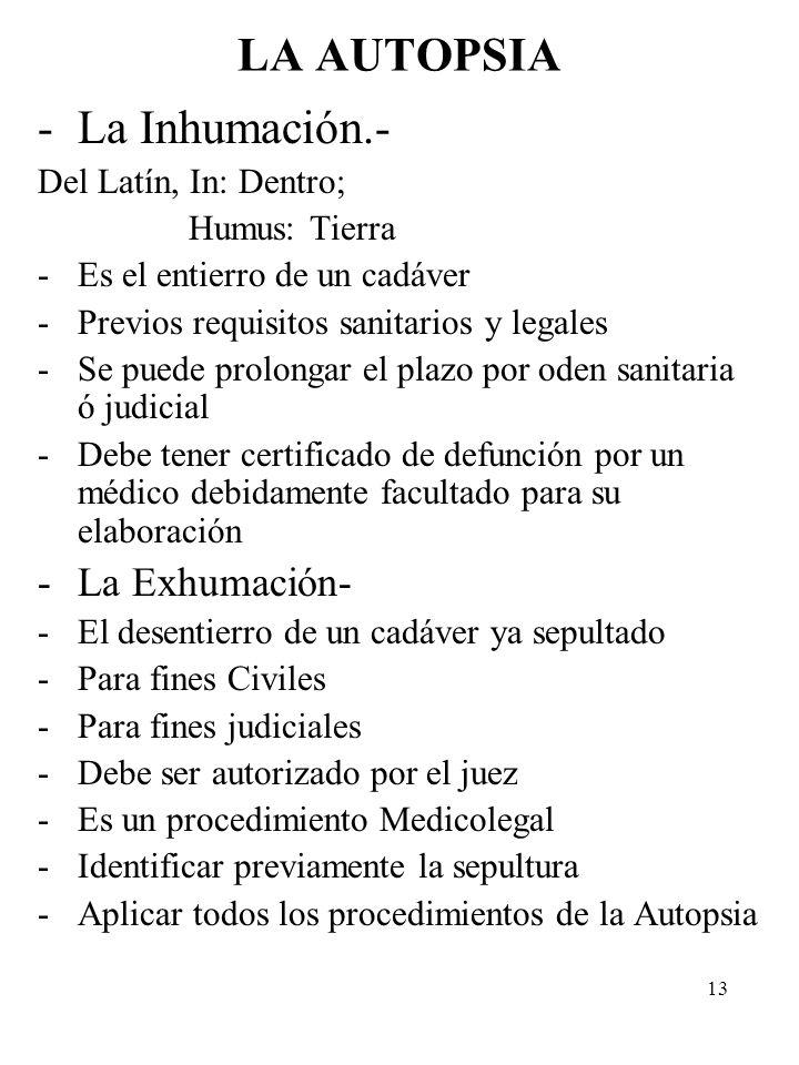 LA AUTOPSIA La Inhumación.- La Exhumación- Del Latín, In: Dentro;