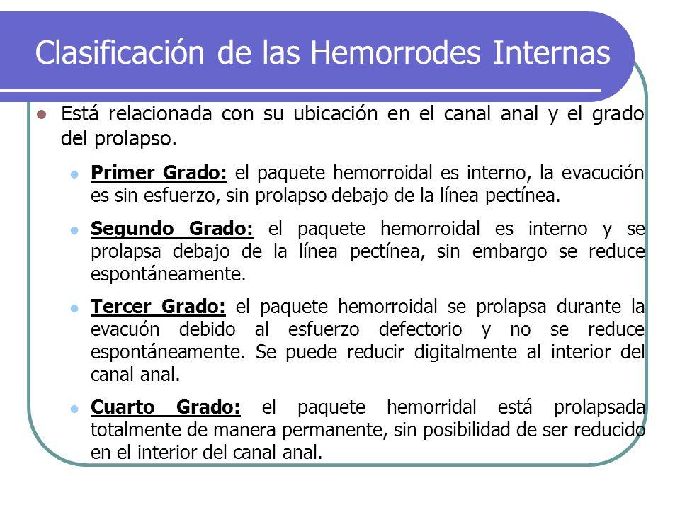 Clasificación de las Hemorrodes Internas