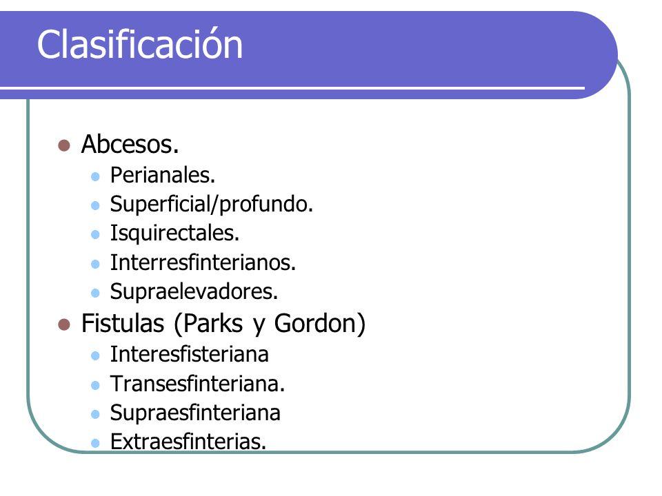 Clasificación Abcesos. Fistulas (Parks y Gordon) Perianales.