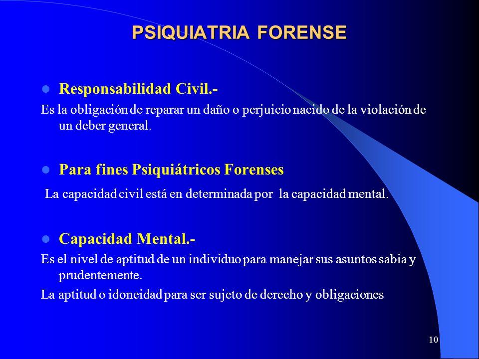 PSIQUIATRIA FORENSE Responsabilidad Civil.-
