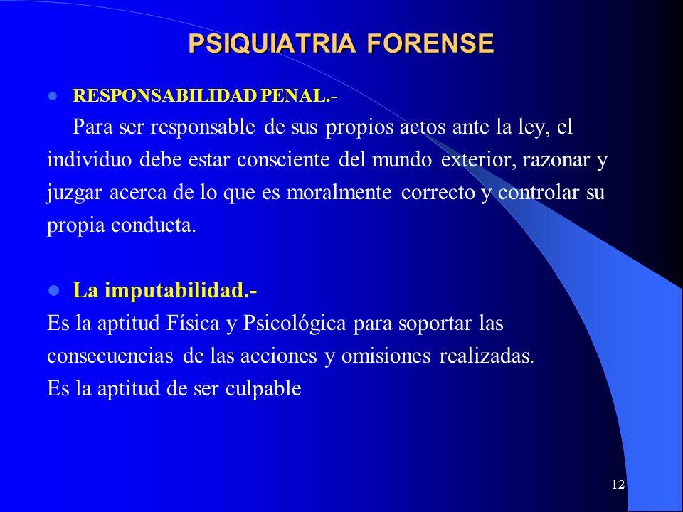 PSIQUIATRIA FORENSE RESPONSABILIDAD PENAL.- Para ser responsable de sus propios actos ante la ley, el.