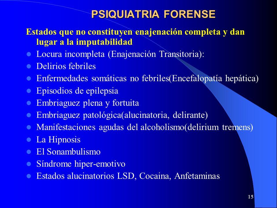 PSIQUIATRIA FORENSEEstados que no constituyen enajenación completa y dan lugar a la imputabilidad. Locura incompleta (Enajenación Transitoria):