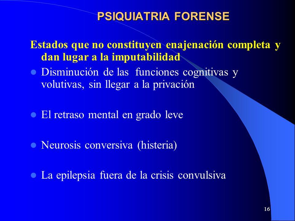 PSIQUIATRIA FORENSEEstados que no constituyen enajenación completa y dan lugar a la imputabilidad.
