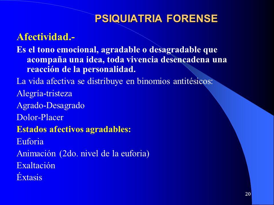 PSIQUIATRIA FORENSE Afectividad.-