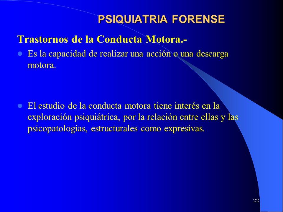Trastornos de la Conducta Motora.-