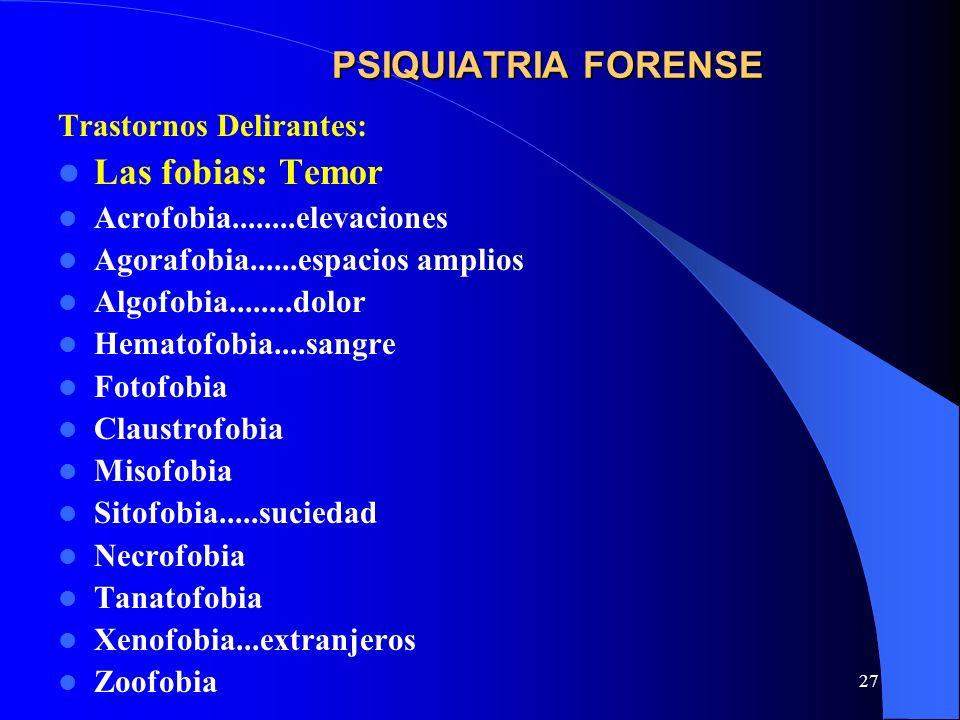 PSIQUIATRIA FORENSE Las fobias: Temor Trastornos Delirantes: