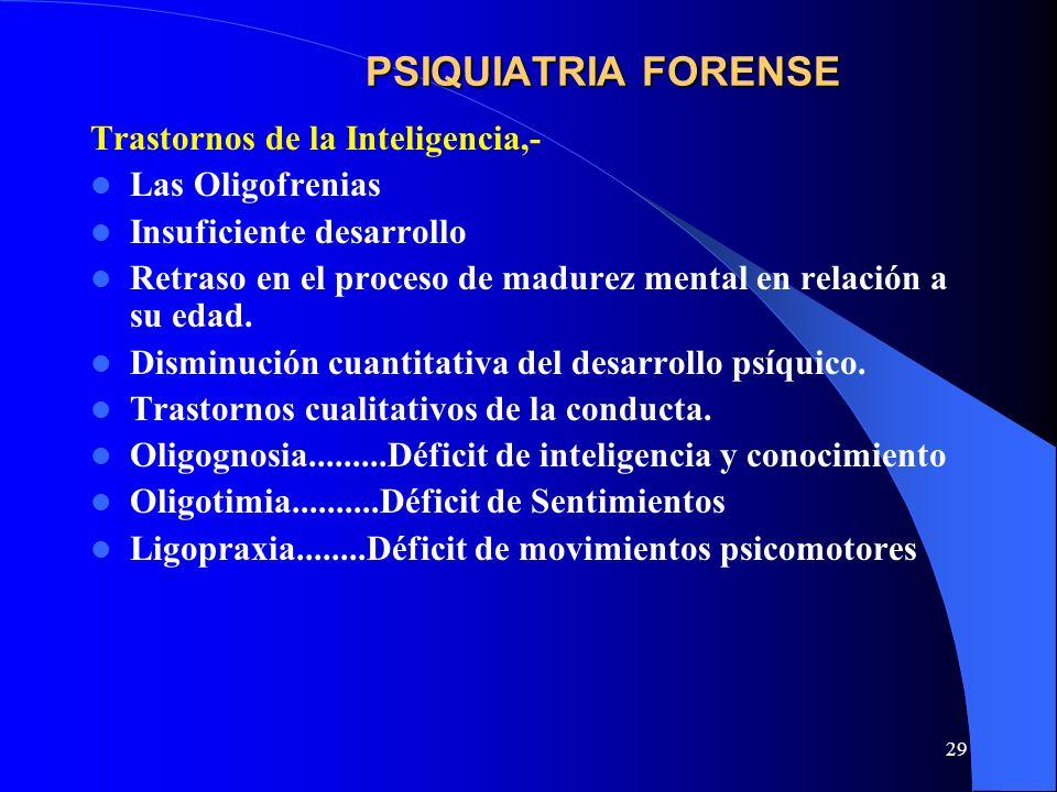 PSIQUIATRIA FORENSE Trastornos de la Inteligencia,- Las Oligofrenias