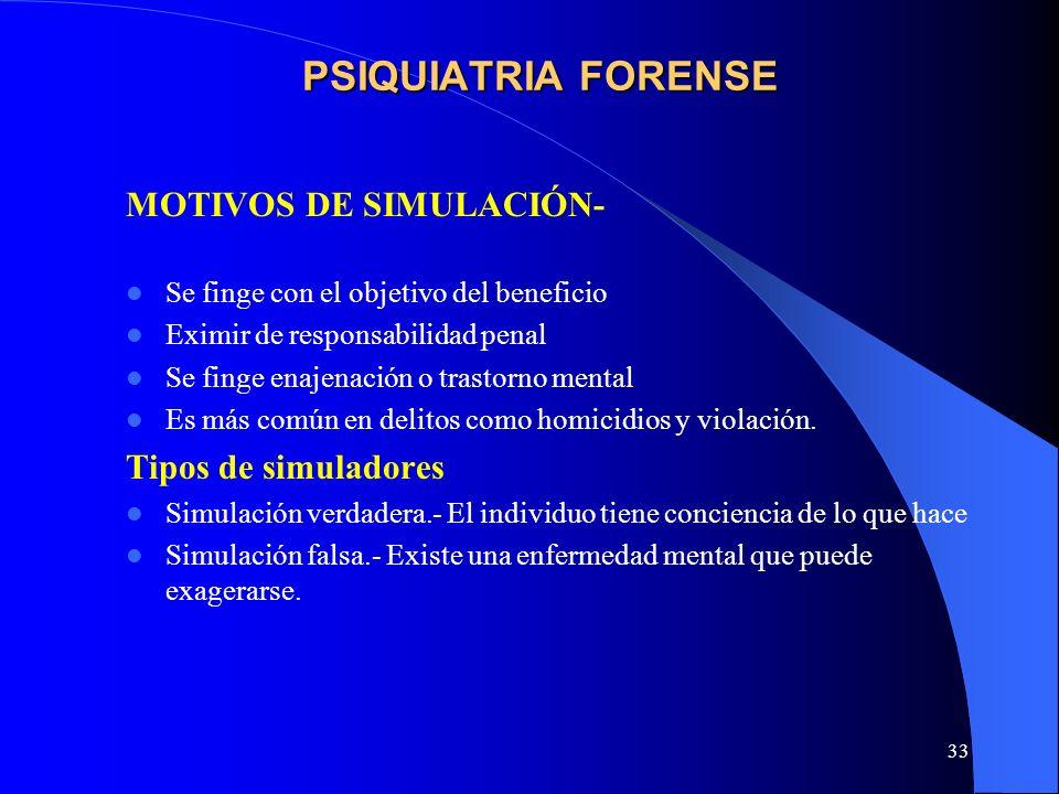 PSIQUIATRIA FORENSE MOTIVOS DE SIMULACIÓN- Tipos de simuladores