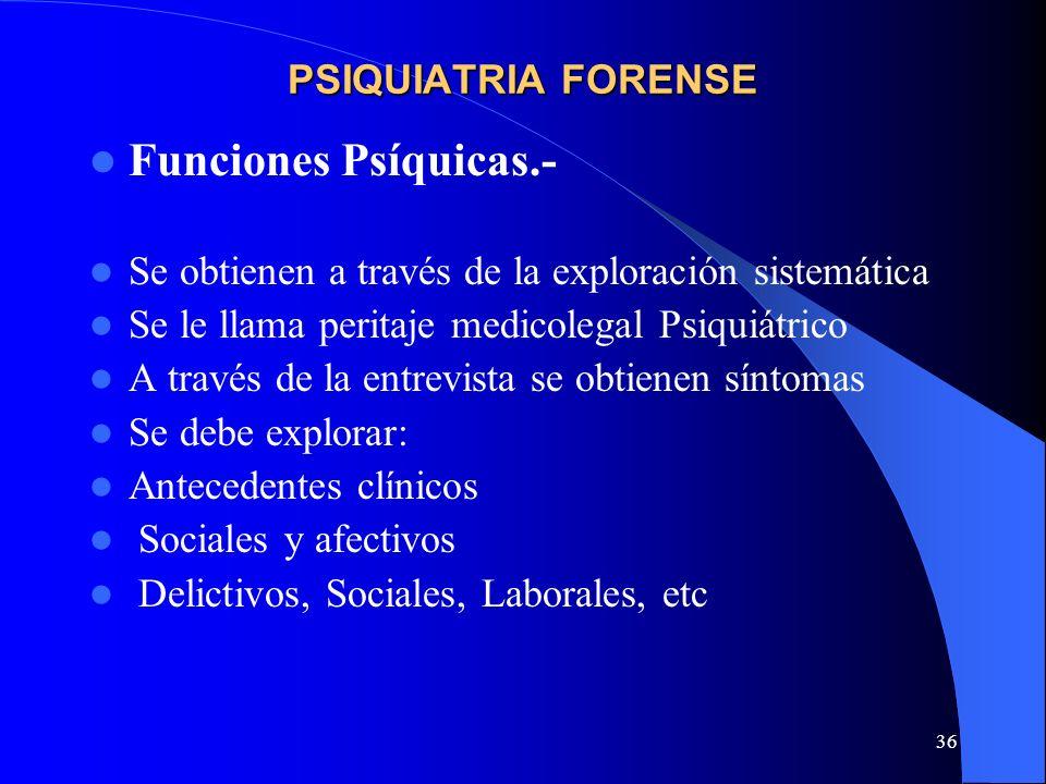Funciones Psíquicas.- PSIQUIATRIA FORENSE