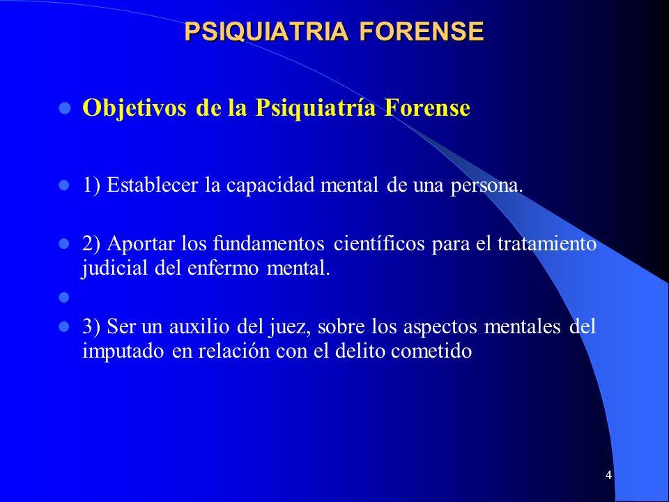 Objetivos de la Psiquiatría Forense