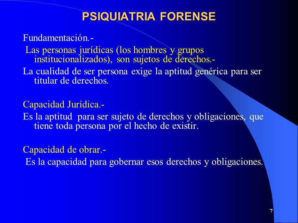 PSIQUIATRIA FORENSE Fundamentación.-