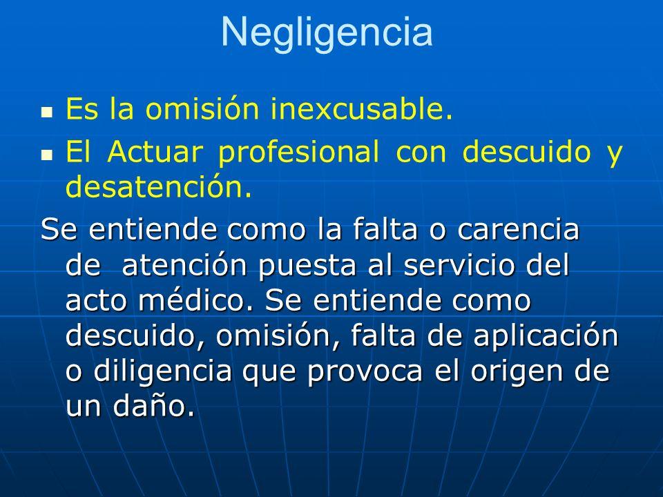 Negligencia Es la omisión inexcusable.