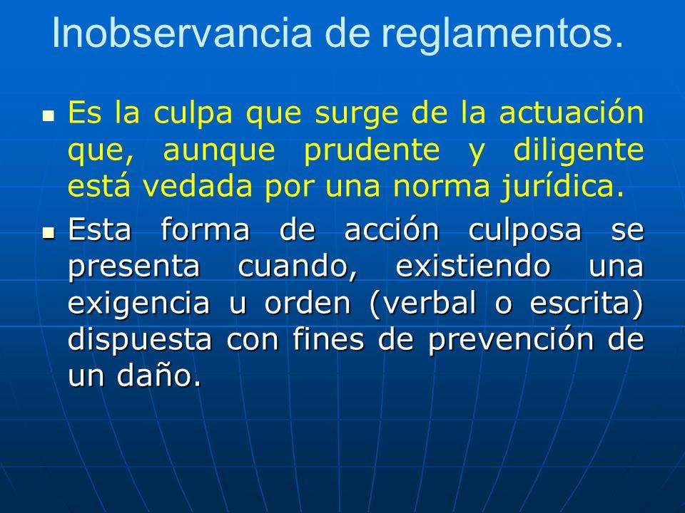 Inobservancia de reglamentos.