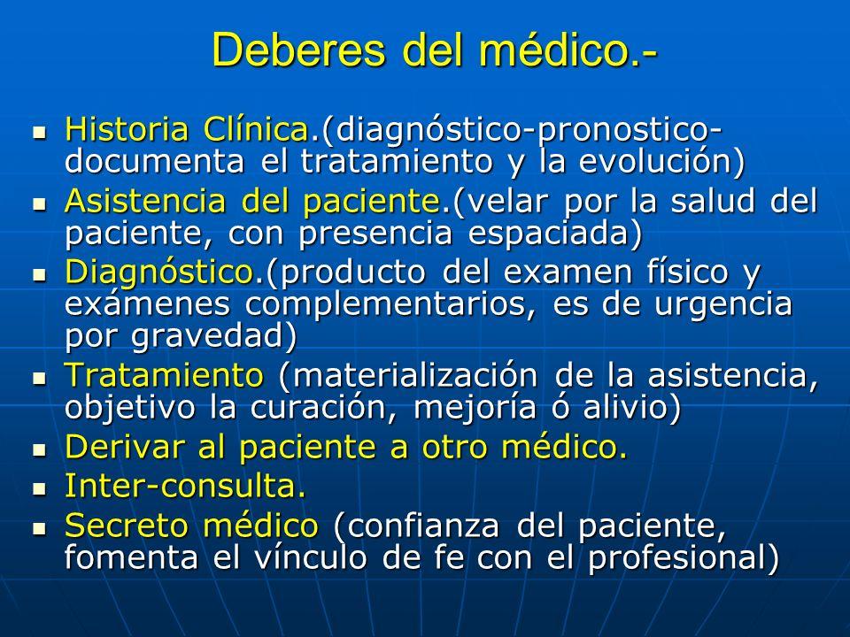 Deberes del médico.- Historia Clínica.(diagnóstico-pronostico-documenta el tratamiento y la evolución)