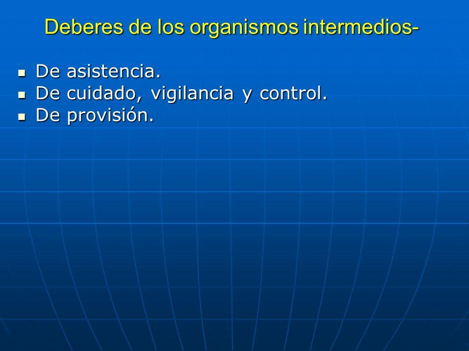Deberes de los organismos intermedios-