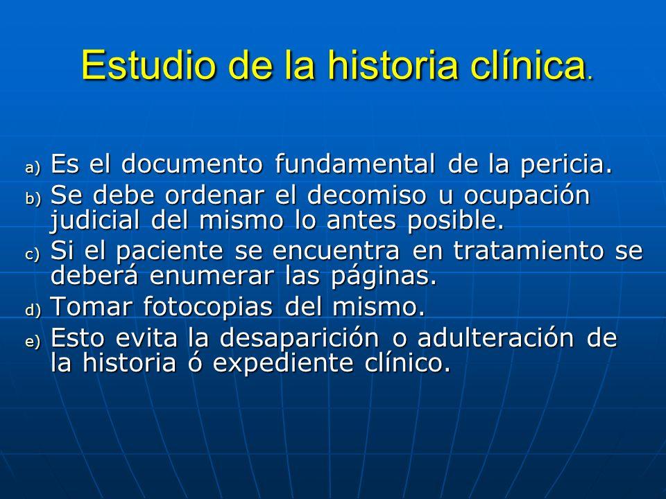Estudio de la historia clínica.