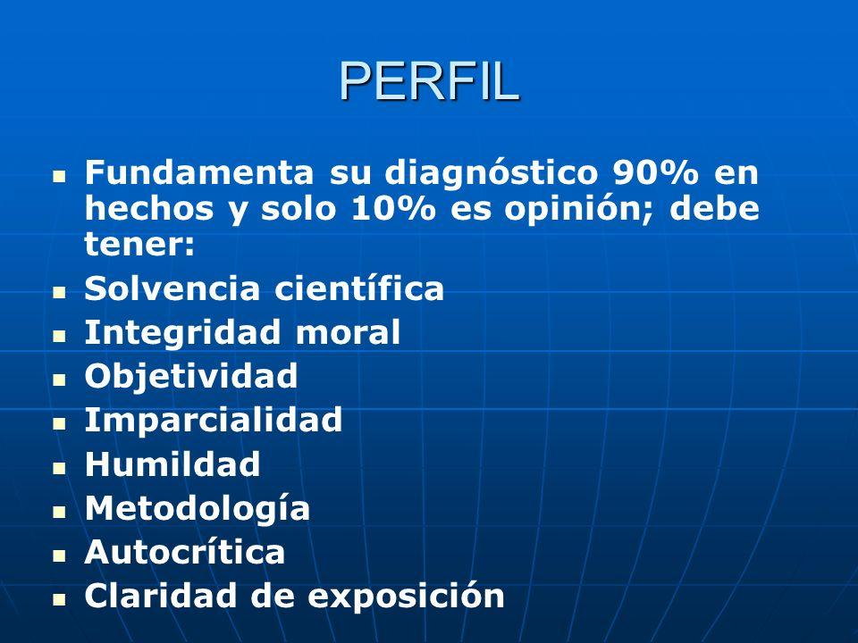 PERFIL Fundamenta su diagnóstico 90% en hechos y solo 10% es opinión; debe tener: Solvencia científica.