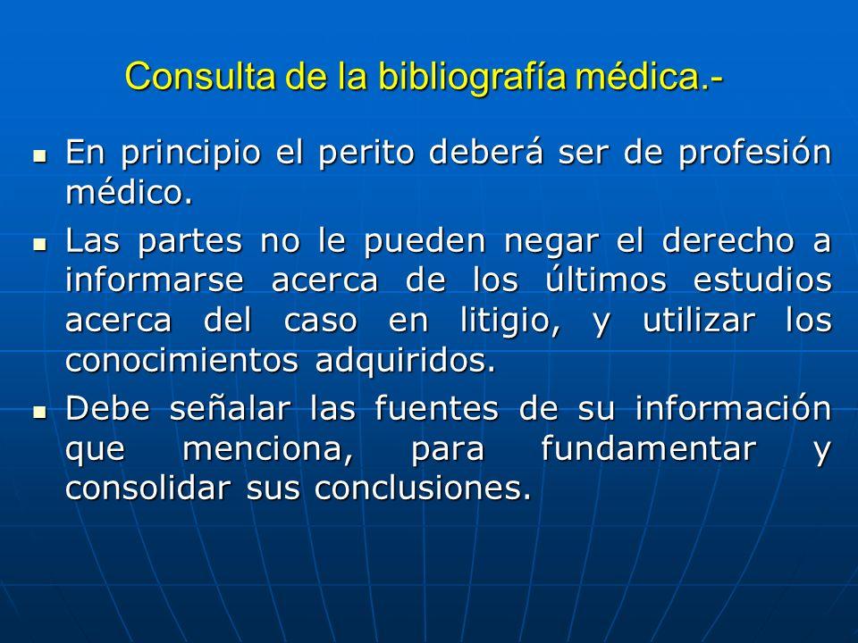 Consulta de la bibliografía médica.-