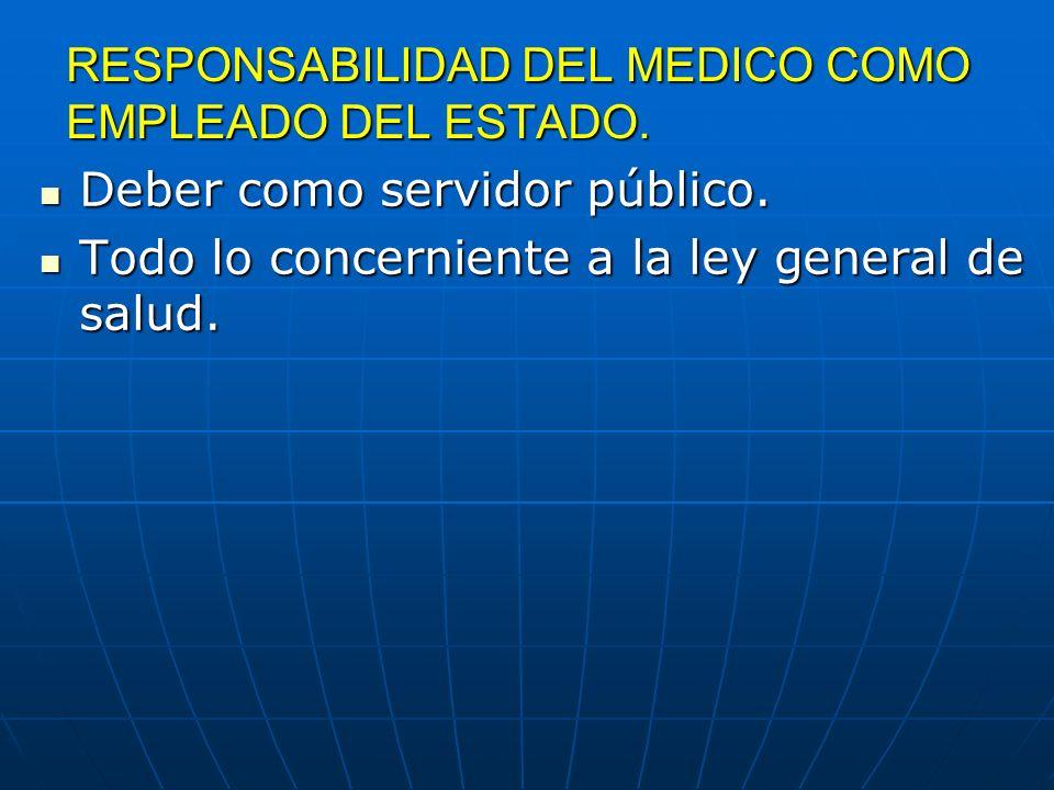RESPONSABILIDAD DEL MEDICO COMO EMPLEADO DEL ESTADO.