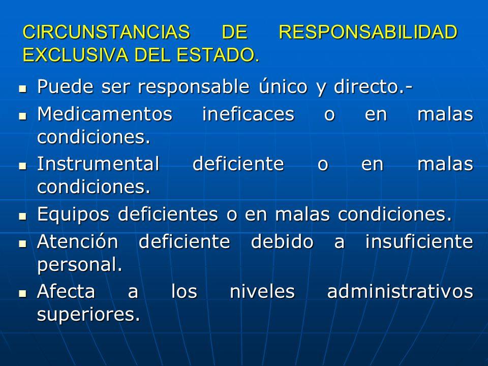 CIRCUNSTANCIAS DE RESPONSABILIDAD EXCLUSIVA DEL ESTADO.