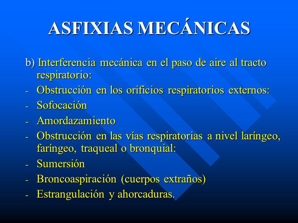 ASFIXIAS MECÁNICAS b) Interferencia mecánica en el paso de aire al tracto respiratorio: Obstrucción en los orificios respiratorios externos: