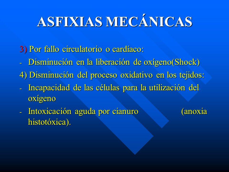 ASFIXIAS MECÁNICAS 3) Por fallo circulatorio o cardíaco: