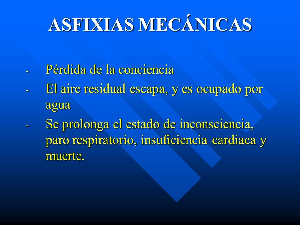 ASFIXIAS MECÁNICAS Pérdida de la conciencia