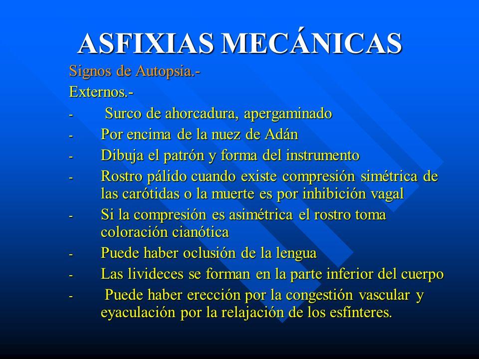 ASFIXIAS MECÁNICAS Signos de Autopsia.- Externos.-