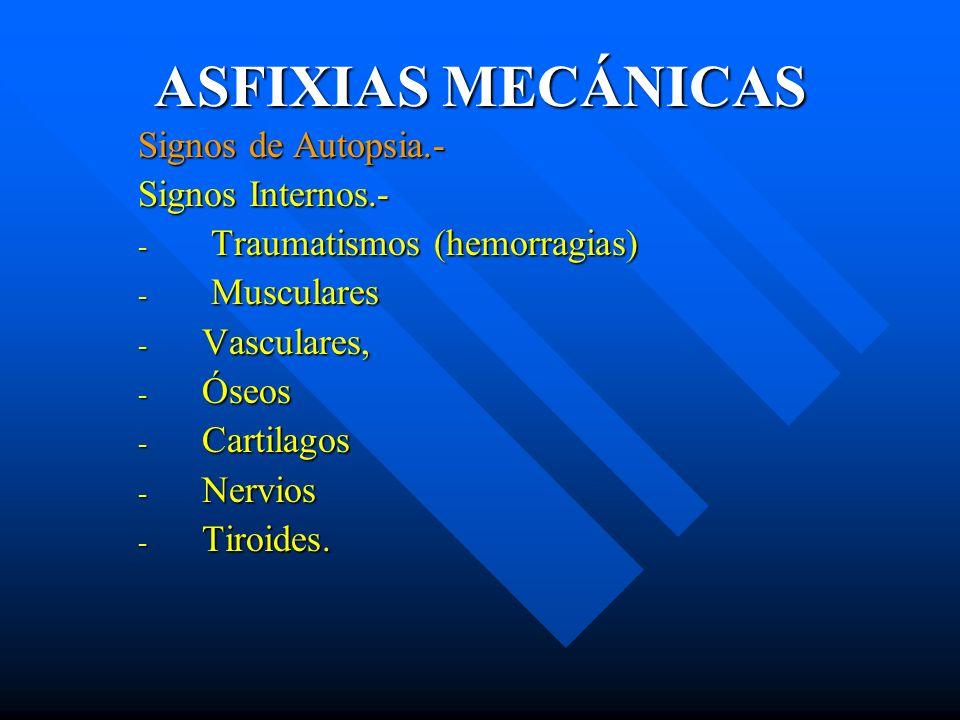 ASFIXIAS MECÁNICAS Signos de Autopsia.- Signos Internos.-