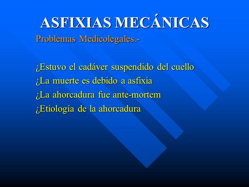 ASFIXIAS MECÁNICAS Problemas Medicolegales.-