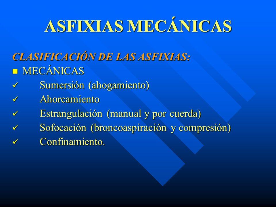 ASFIXIAS MECÁNICAS CLASIFICACIÓN DE LAS ASFIXIAS: MECÁNICAS