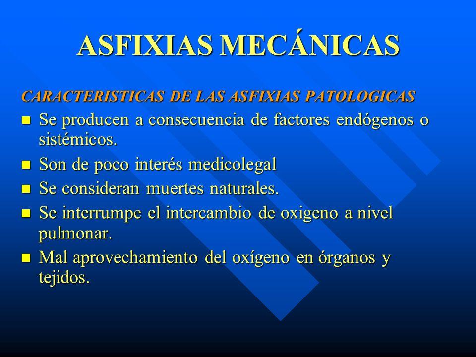 ASFIXIAS MECÁNICAS CARACTERISTICAS DE LAS ASFIXIAS PATOLOGICAS. Se producen a consecuencia de factores endógenos o sistémicos.