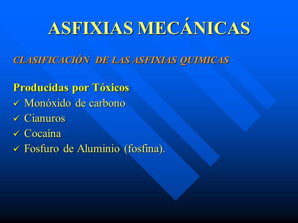 ASFIXIAS MECÁNICAS Producidas por Tóxicos Monóxido de carbono Cianuros