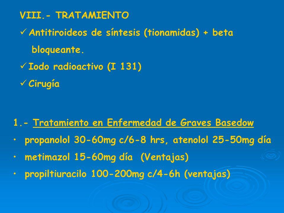 VIII.- TRATAMIENTOAntitiroideos de síntesis (tionamidas) + beta. bloqueante. Iodo radioactivo (I 131)