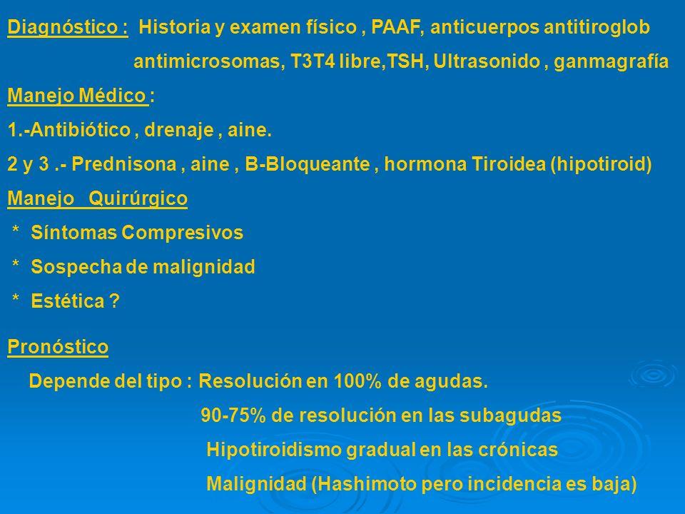 Diagnóstico : Historia y examen físico , PAAF, anticuerpos antitiroglob