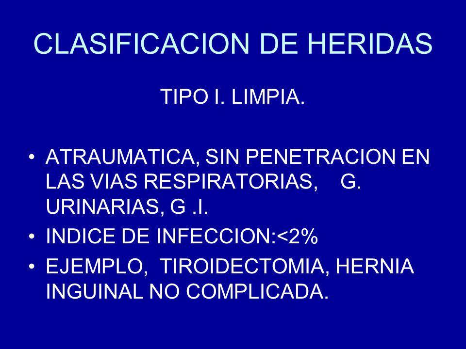 CLASIFICACION DE HERIDAS