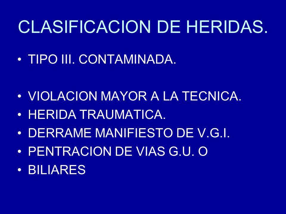 CLASIFICACION DE HERIDAS.