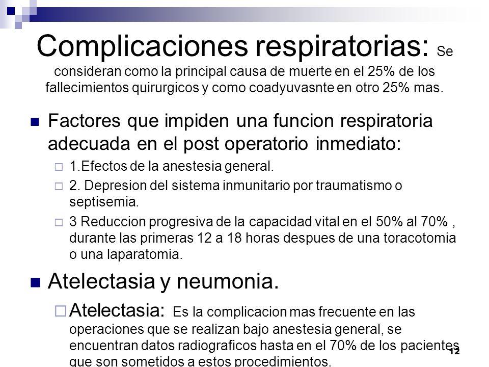 Complicaciones respiratorias: Se consideran como la principal causa de muerte en el 25% de los fallecimientos quirurgicos y como coadyuvasnte en otro 25% mas.