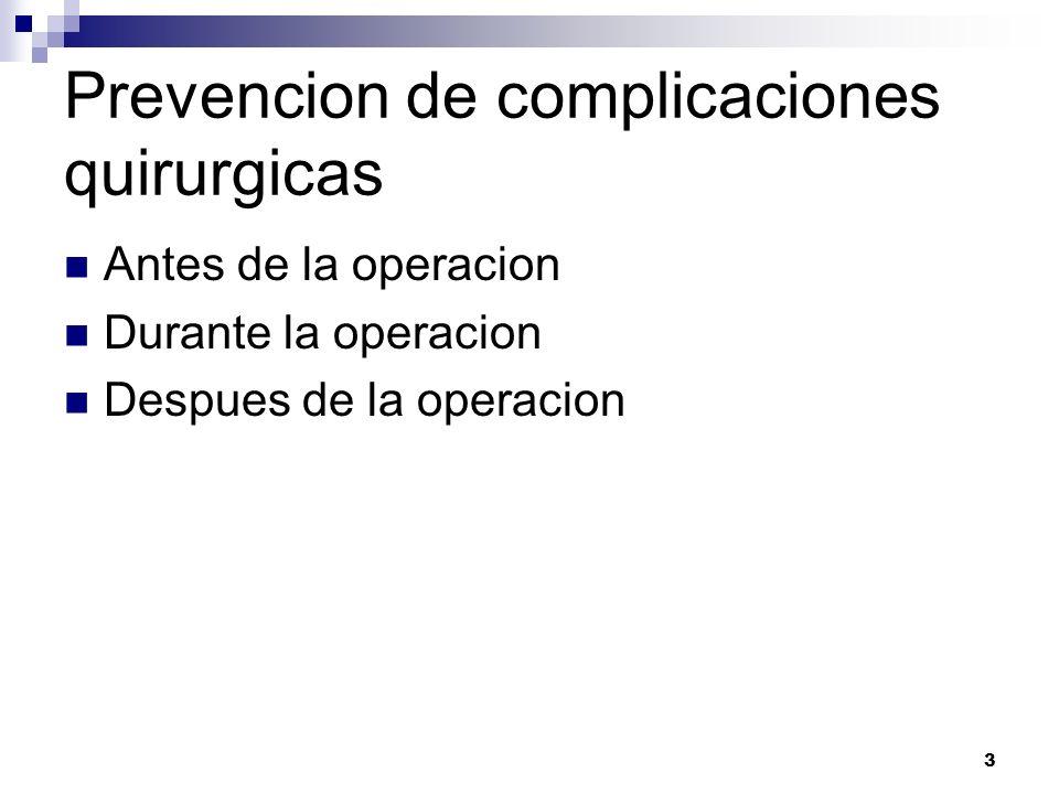 Prevencion de complicaciones quirurgicas