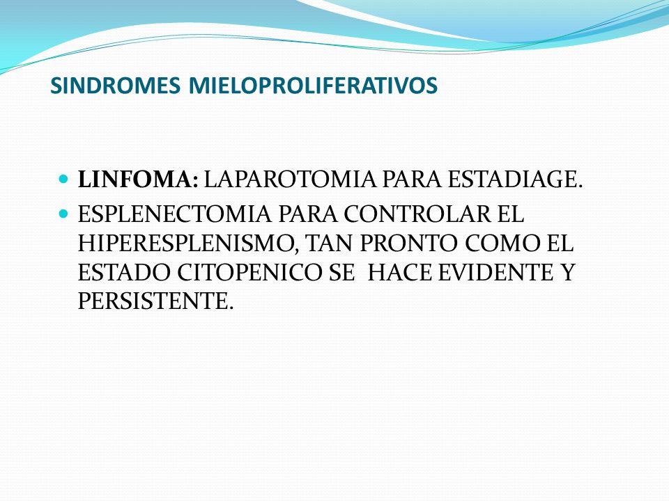 SINDROMES MIELOPROLIFERATIVOS