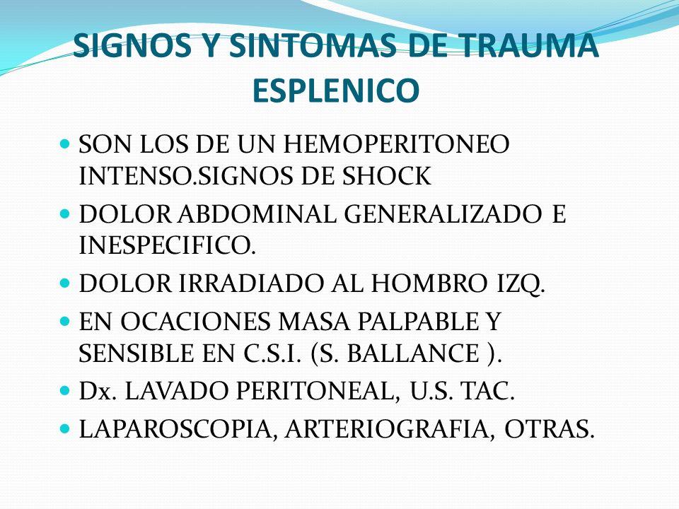 SIGNOS Y SINTOMAS DE TRAUMA ESPLENICO