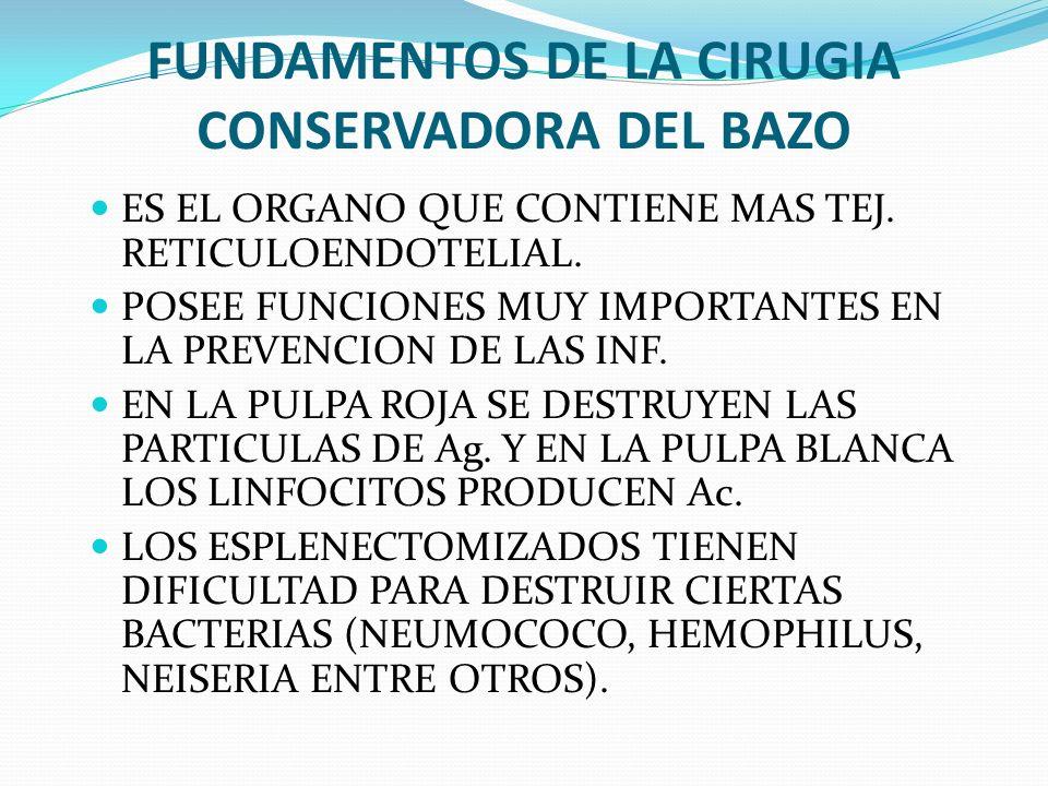 FUNDAMENTOS DE LA CIRUGIA CONSERVADORA DEL BAZO