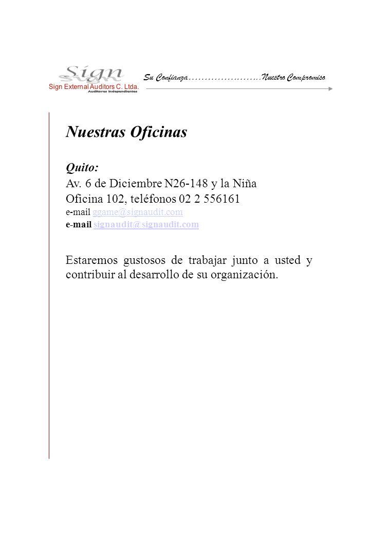 Nuestras Oficinas Quito: Av. 6 de Diciembre N26-148 y la Niña