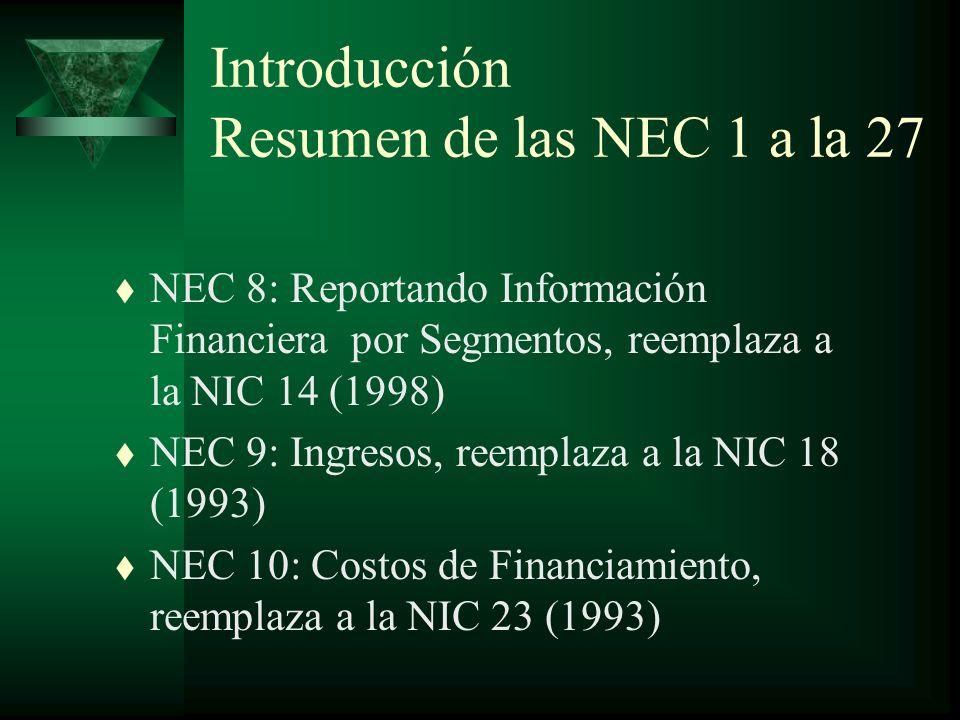 Introducción Resumen de las NEC 1 a la 27
