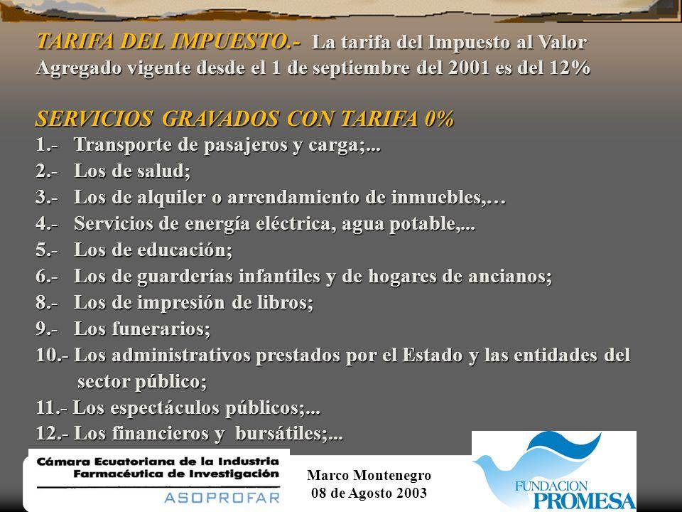 SERVICIOS GRAVADOS CON TARIFA 0%