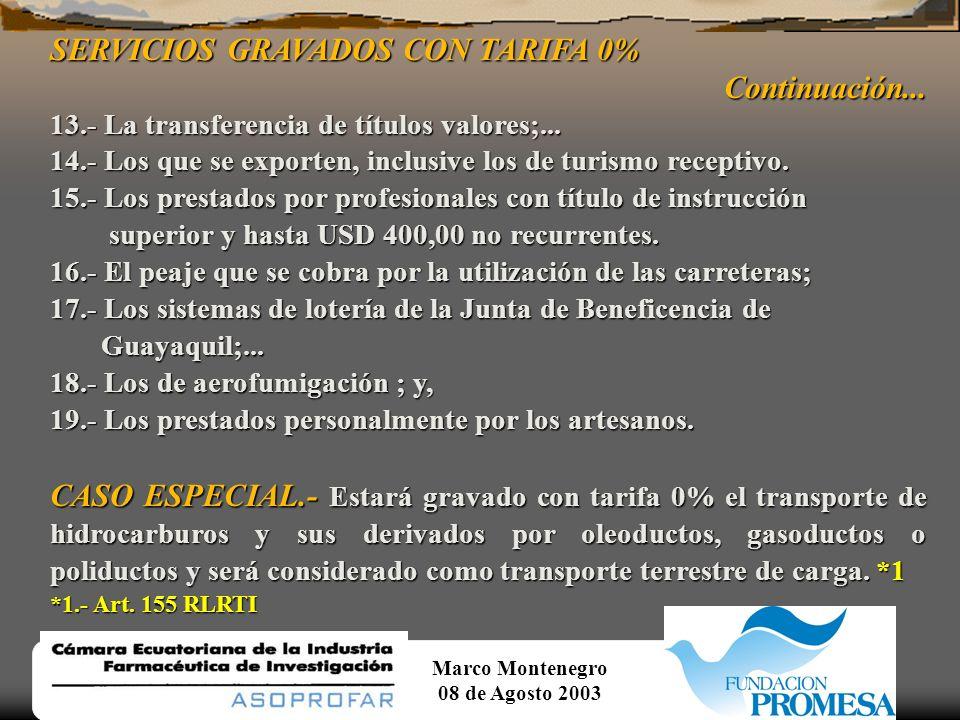 SERVICIOS GRAVADOS CON TARIFA 0% Continuación...