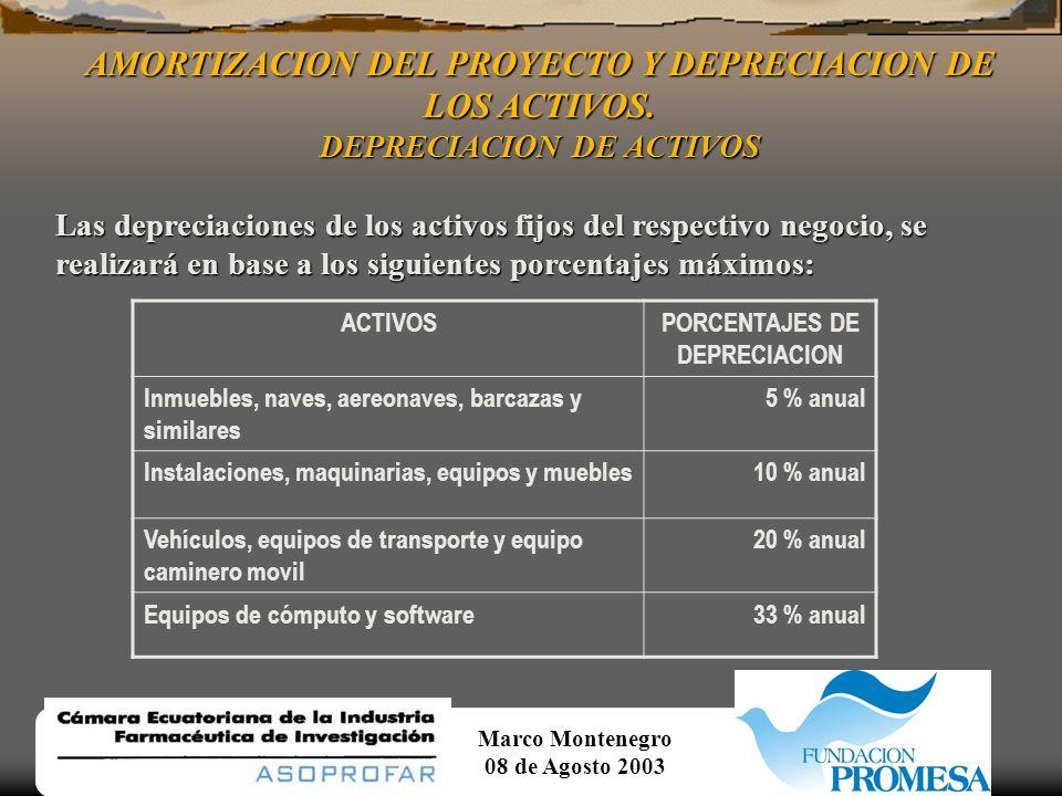 AMORTIZACION DEL PROYECTO Y DEPRECIACION DE LOS ACTIVOS.